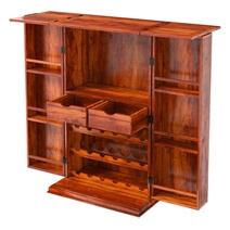 Expandable Home Wine Bar Cabinet with Bottle Storage