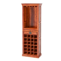 Lovedale Rustic Tall Narrow Liquor Display Cabinet with Glass Stem Racks
