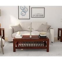 Portland Contemporary Rustic Solid Wood 2 Tier Coffee Table