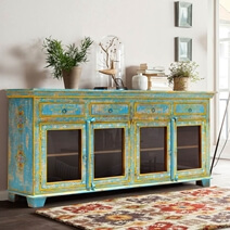 Oklahoma Farmhouse Distressed Solid Wood Glass Door Large Sideboard