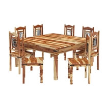 Peoria Solid Wood Large Square Dining Table & Chair Set For 8 People