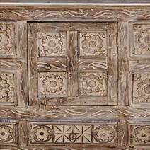 Rustic Primitive Hand Carved 3 Drawer Sideboard Cabinet