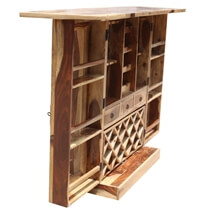 Cordaville Rustic Expandable Liquor Display Home Bar Cabinet With Glass Doors