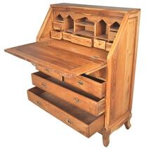 Portland Classic Butler's Teak Wood Drop-Front Secretary Office Desk