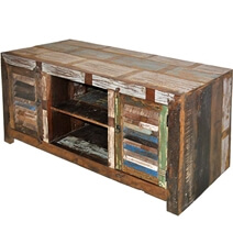 Hand Painted Patchwork Old Wood Media Stand Cabinet
