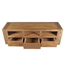 Rustic Portland Contemporary 3 Drawer Acacia Wood Media Console