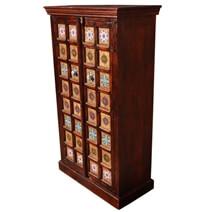 Portland Mango Wood & Ceramic Tile 54'' Armoire Cabinet