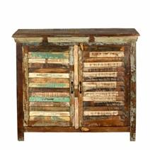 Sinajana Rustic Reclaimed Wood 2 Shutter Door Kitchen Buffet Cabinet
