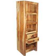 Alameda 4 Open Shelf Solid Wood Tall Narrow Bookcase With Drawers