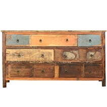 Appalachian Rustic Distressed Reclaimed Wood Long Bedroom Dresser