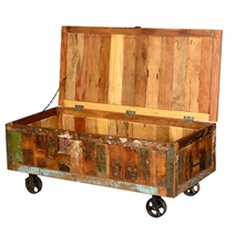 Rustic Reclaimed Wood Appalachian Cart Storage Trunk on Wheels