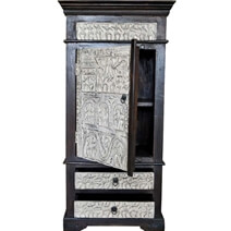 Primitive Hand Carved Tropical Solid Wood Narrow Armoire With Shelves