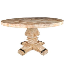 Rustic Mango Wood Pedestal Round Dining Table