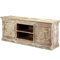 Farmhouse Style Handcarved Tropical Hardwood Media Center Console