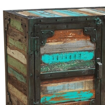 Allenhurst Rustic Reclaimed Wood 3 Drawer Industrial Sideboard Buffet