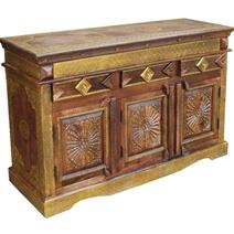 Santa Fe Starburst Mango Wood Brass Inlay 3 Drawer Sideboard Cabinet