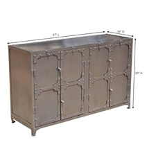 Austin Classic Iron 4 Door Industrial Buffet Cabinet