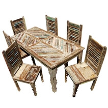 Tucson Rainbow Reclaimed Wood Dining Table & Shutter Back Chair Set
