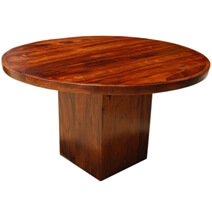 Solid Wood Rustic Round Dining Table w Square Pedestal