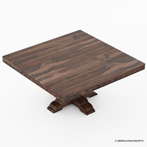 Florida Rustic Solid Wood Handcarved Pedestal Square Dining Table