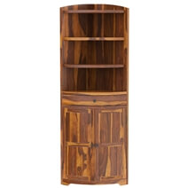 Appalachian Rustic Solid Wood Circular Corner Hutch Cabinet