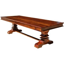 Tiraspol Solid Wood Trestle Pedestal Large Rectangle Dining Table