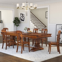 Tiraspol Solid Wood Trestle Pedestal Large Rectangle Rustic Dining Table