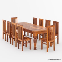 Clermont Rustic Furniture Solid Wood Dining Table Set