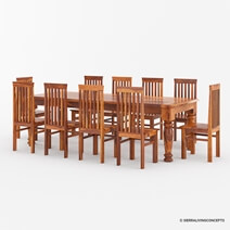 Clermont Rustic Furniture Solid Wood Large Dining Table Set For 12