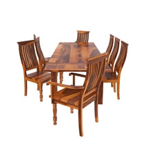 Rustic Mediterranean Eco Dining Table & Chair Set w Extensions