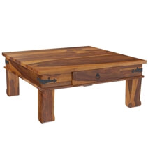 Terrarum Solid Wood Square Drawer Coffee Table