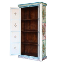 Vintage Solid Wood Distress Hand Painted Armoire With Shelves