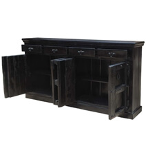 Kansas City Solid Wood 4 Drawer Black Large Sideboard