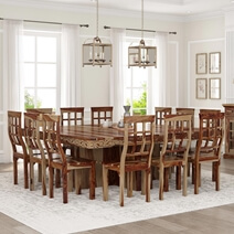 Dallas Ranch Solid Wood Pedestal Rustic Large Square Dining Room Table