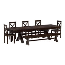 Westside Indoor Picnic Style Extendable Dining Table Bench Set