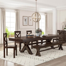 Westside Picnic Style Solid Wood Extendable Dining Table