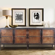 Industrial Black and Brown Iron 76 4-Door Large Buffet Cabinet