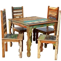 Rustic Reclaimed Wood 36 Square Dining Table w Decorative Legs