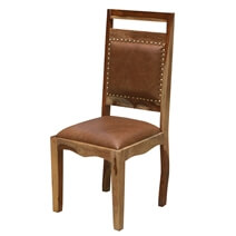 Transitional Rustic Solid Wood & Leather Dining Chair