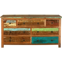 Sierra Rustic Reclaimed Wood Large Bedroom Dresser With 7 Drawers