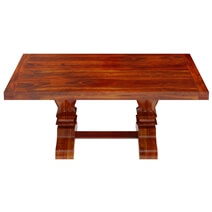 Siena Rustic Solid Wood Trestle Pedestal Dining Table