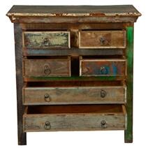 Norfolk Rustic Reclaimed Wood 6 Drawer Standard Vertical Chest