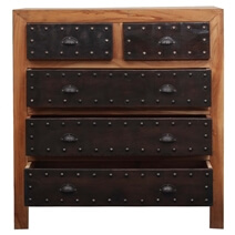 Crenshaw Industrial Solid Acacia Wood Dresser Chest With 5 Drawers