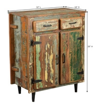 Fabius Rustic Reclaimed Wood 2 Drawer Freestanding Buffet Cabinet