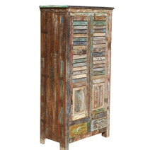Appalachian Shutter Door Reclaimed Wood Armoire w Shelves And Drawers