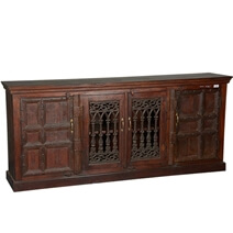 Gothic Gates Rustic Reclaimed Wood Extra Large Buffet Cabinet