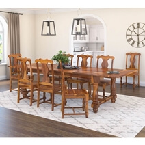 Oroville Farmhouse Solid Wood Trestle Extendable 120 Large Dining Table