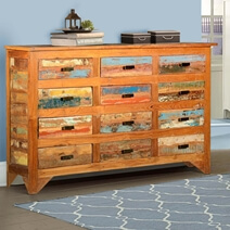 Multicolored Rustic Reclaimed Wood 12 Drawer Horizontal Dresser