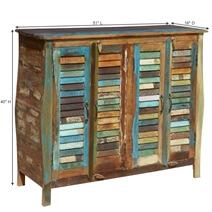 Tucker Rustic Reclaimed Wood 4 Shutter Door Buffet Cabinet