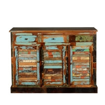 Dravin Rustic Reclaimed Wood 3 Drawer Sideboard Buffet Cabinet